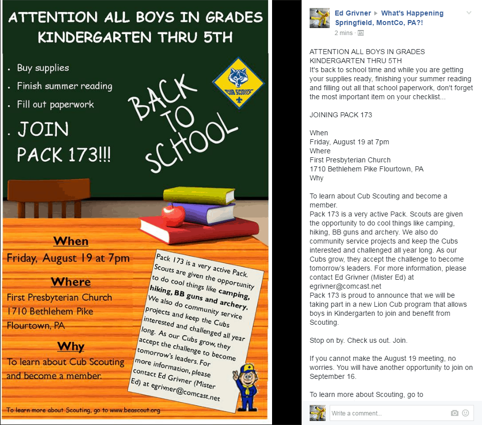 Pack 173 Facebook Post